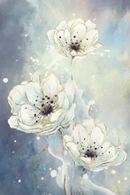 Watercolor Drawing Of Flowers In Soft Colors