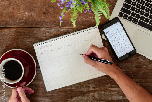 SEPTEMBER 17, 2018: Working table top with organizer for monthly planing with Ip Canvas Print