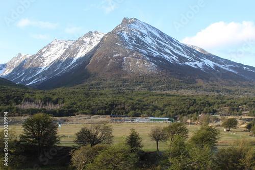 Printed kitchen splashbacks Reflection Snowy mountain landscape