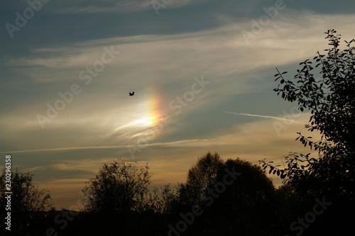 Zjawisko hallo na niebie - słońce poboczne, niby tęcza wśród chmur, przed zachodem słońca