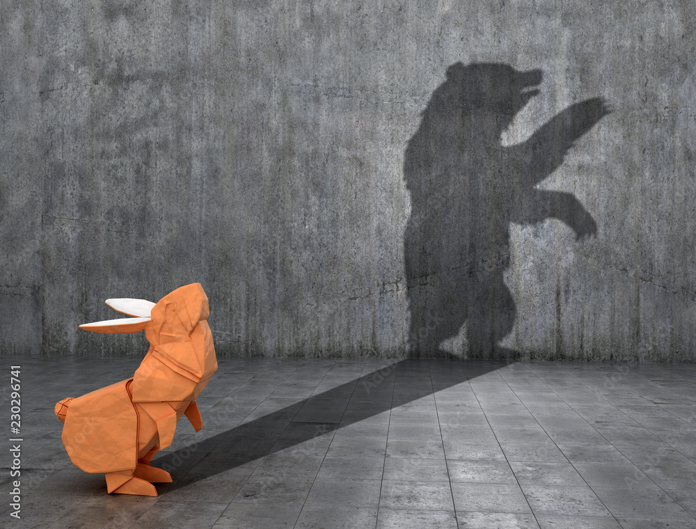 Fototapety, obrazy: Concept of hidden potential. Paper figure of a rabbit that throws a bear's shadow. 3D illustration