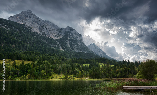 Ferchensee lake in Alps. Thunder clouds