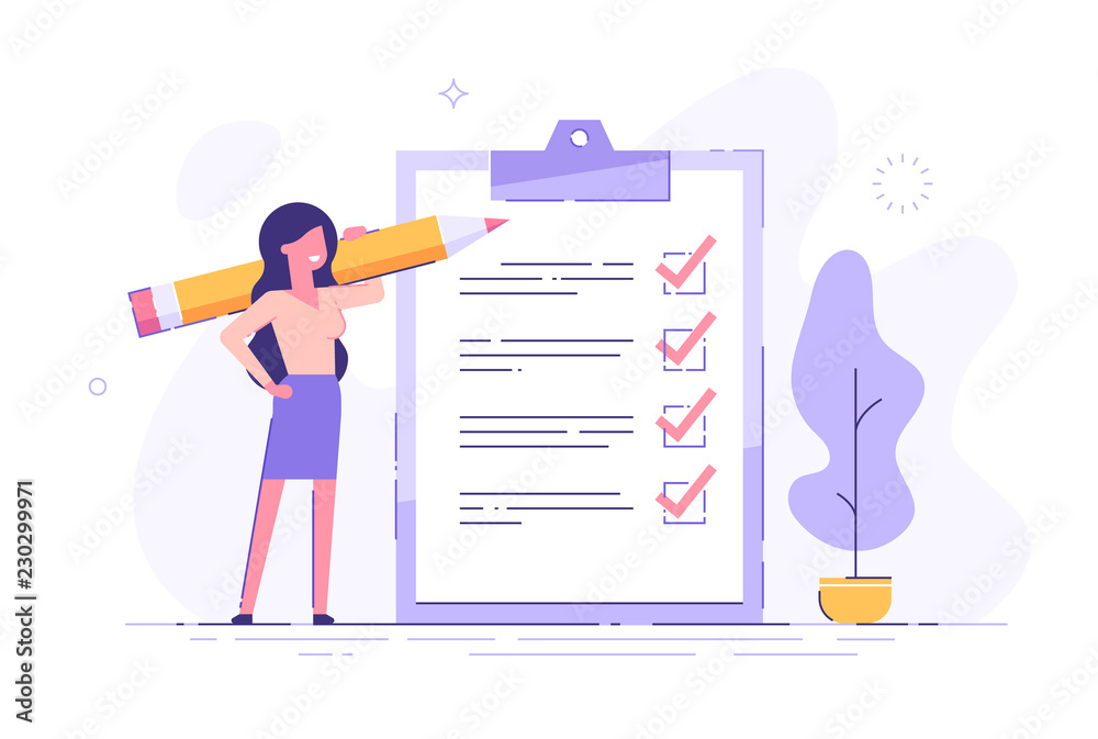 Fototapeta Positive business woman with a giant pencil on his shoulder nearby marked checklist on a clipboard paper. Successful completion of business tasks. Flat vector illustration.