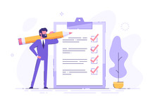 Positive Business Man With A Giant Pencil On His Shoulder Nearby Marked Checklist On A Clipboard Paper. Successful Completion Of Business Tasks. Flat Vector Illustration.
