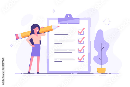 Fototapeta Positive business woman with a giant pencil on his shoulder nearby marked checklist on a clipboard paper. Successful completion of business tasks. Flat vector illustration. obraz