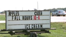 Apples Cider And Ice Cream Sign On Farm Slow Motion