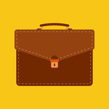 Briefcase Flat Icon On Isolated Transparent Background.