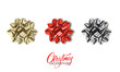 Gift bow. Realistic gold, red and silver metallic bows. Christmas and New Year decorations.