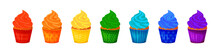 Vector Cartoon Style Illustration Of Sweet Cupcakes. Delicious Sweet Desserts Decorated With Colored Creme. Set. Muffins Isolated On White Background.
