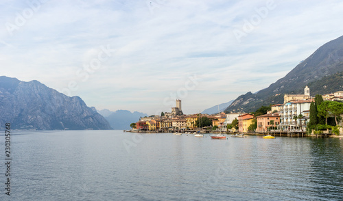 Poster Europese Plekken Landscape with Malcesine at Lake Garda in Italy