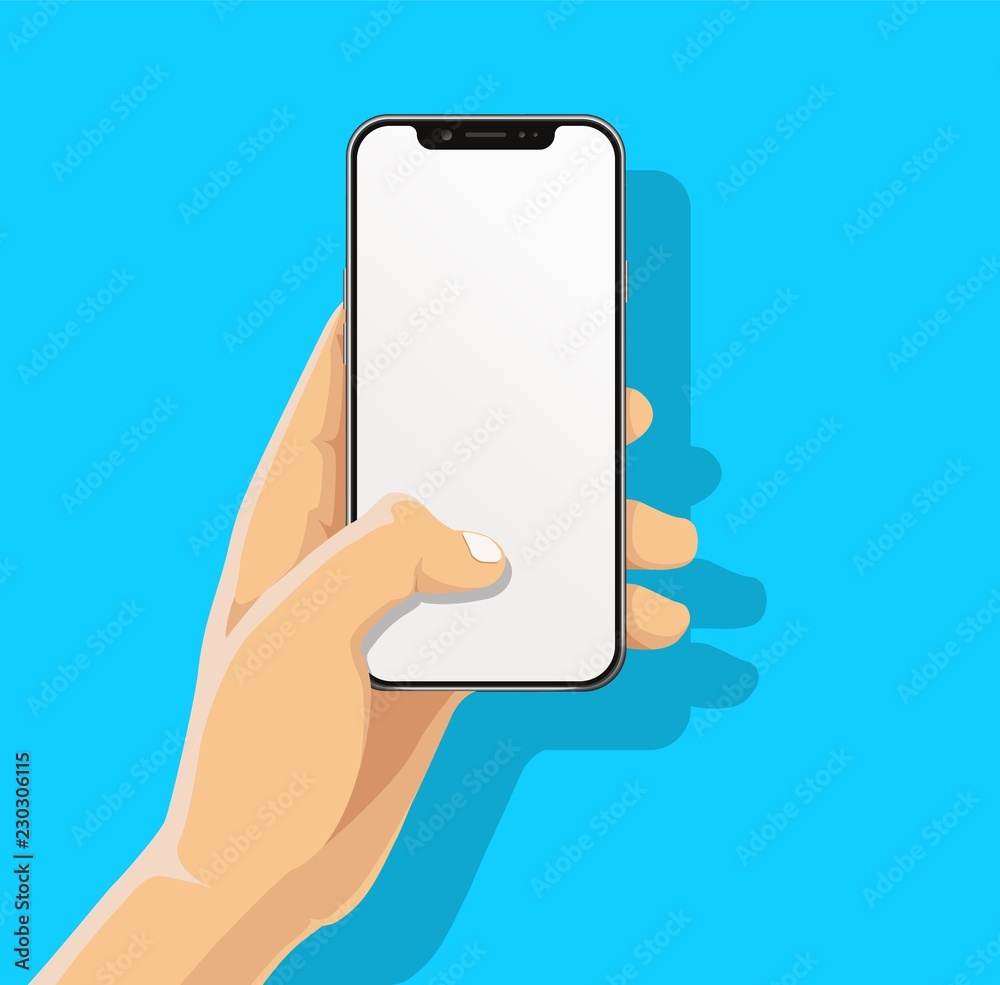 Fototapeta Hand holding black bazelless smartphone and finger touch, click on blank white screen on blue background with shadow. Human, Man, Woman using mobile phone, Vector flat cartoon design concept.