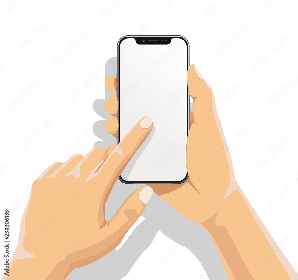 Fototapeta Businessman hand holding smartphone and finger touch on blank white screen on white background with shadow. Human using mobile phone, Vector illustration flat cartoon design concept.