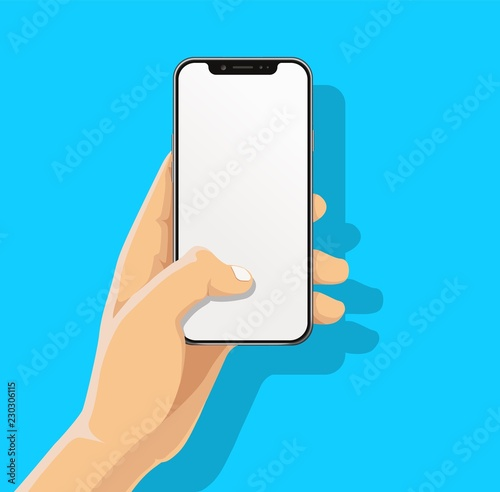 Cuadros en Lienzo Hand holding black bazelless smartphone and finger touch, click on blank white screen on blue background with shadow