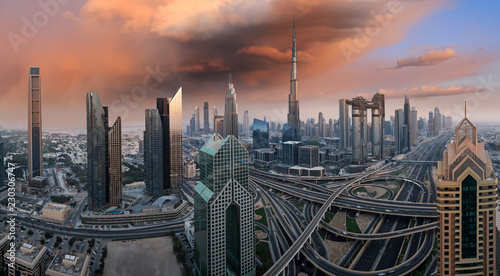 Staande foto Stad gebouw Dubai skyline during sunrise, United Arab Emirates.