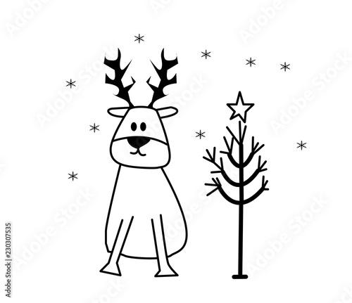 Immagini Natale In Bianco E Nero.Albero Di Natale E Renna In Bianco E Nero Buy This Stock Illustration And Explore Similar Illustrations At Adobe Stock Adobe Stock