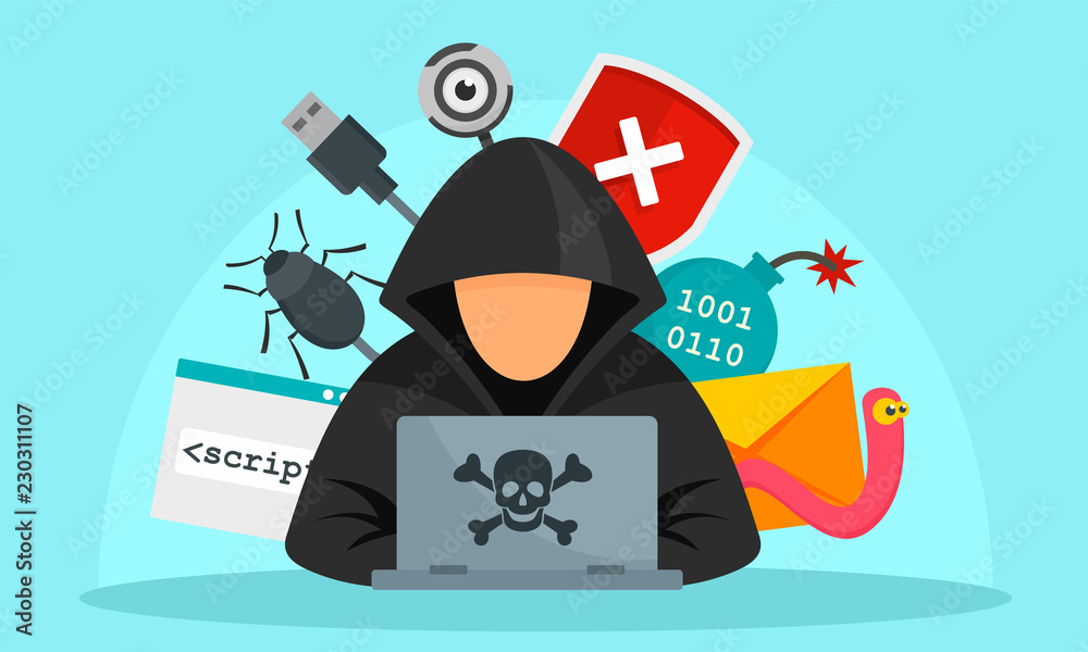 Fototapeta Hacker activity concept background. Flat illustration of hacker activity vector concept background for web design
