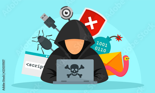 Hacker activity concept background. Flat illustration of hacker activity vector concept background for web design