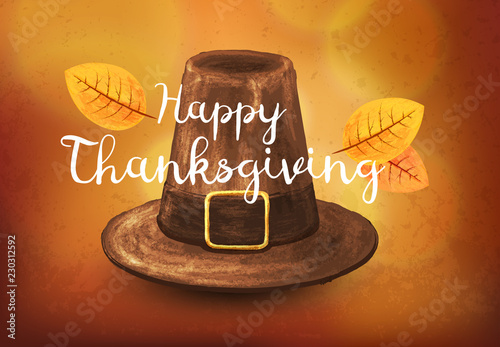 Fotografía  Hand-drawn Pilgrim hat. Illustration on a Thanksgiving holidays.
