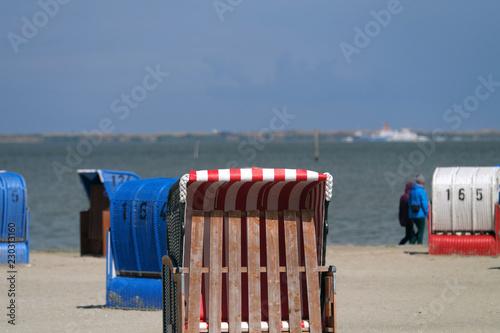 Strandkörbe an der Nordsee - Stockfoto