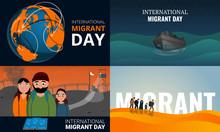 Migrant Banner Set. Cartoon Il...