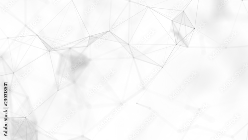 Fototapety, obrazy: Abstract white futuristic background. White background. connecting dots and lines on white background. 4k rendering.