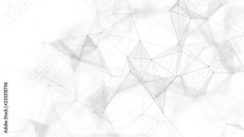 Abstract white futuristic background. White background. connecting dots and lines on white background. 4k rendering. - fototapety na wymiar