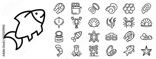 Obraz Seafood icon set. Outline set of seafood vector icons for web design isolated on white background - fototapety do salonu