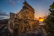 Ancient Mayan Temple At Sunrise In Cancun Mexico