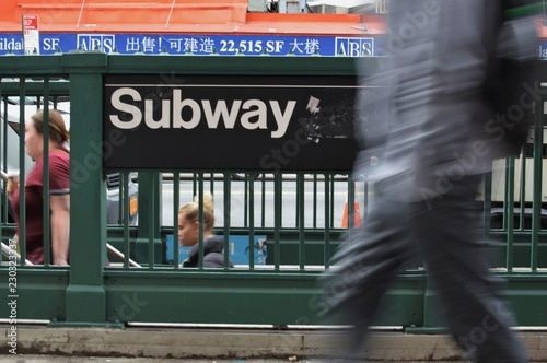 Stickers pour portes New York New York Subway Sign People Walking NYC Streets Rush Hour City Life