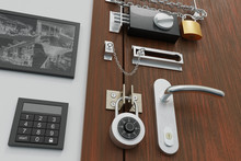 Safety And Security Concept. Door With Many Locks. 3D Rendered Illustration.