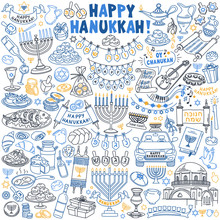 """Hanukkah Doodle Set. Hand Drawn Vector Illustration Isolated On White Background. Hebrew Text Translation: """"Happy Chanukah""""; Letters On Dreidels: Acronym For """"great Miracle Happened Here (there)"""""""