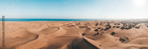 Deurstickers Canarische Eilanden Aerial view of the Maspalomas dunes on the Gran Canaria island. Panoramic view.