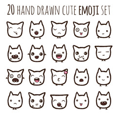Hand drawn vector eps10 emoticons collection isolated illustrations.