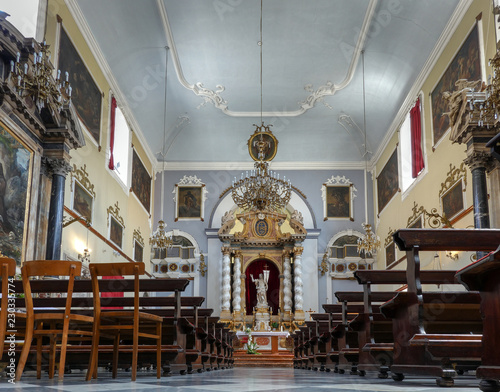 Main altar of the Franciscan Church and Monastery in Dubrovnik, Croatia with the resurrected Christ statue created by the sculptor Celia from Ancona in 1713 Wallpaper Mural