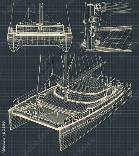 Fotomural  Drawings of a modern catamaran