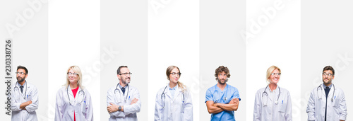 Photo  Collage of professional doctors over stripes isolated background smiling looking side and staring away thinking