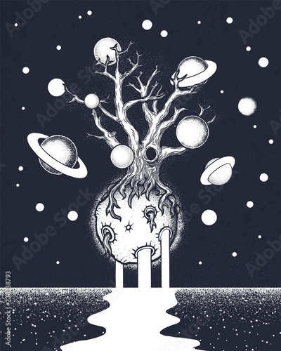 Hand drawn abstract mystery tree on the moon in deep space. Canvas Print