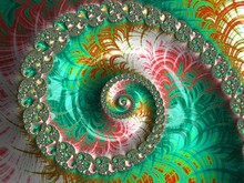 Abstract Spiral Textured Fractal In Green And Red Colors, Artwork For Creative Art, Design And Entertainment. Background For Website And Flyer Design.
