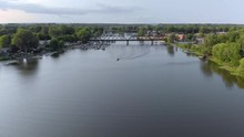 Aerial, 4k Train Bridge Approa...