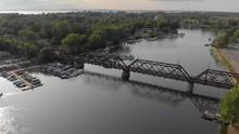 Aerial, 4k Train Bridge Orbit ...