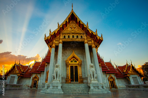 wat benchamabophit temple one of most popular traveling destination in bangkok thailand