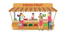 Local Farm Market Fruit Shop With Fruit Seller.