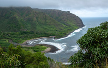 Scenic Overlook Of Halawa Valley On The East Side Of Molokai, Hawaii