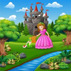Piękna bajkowa księżniczka i książę żaba