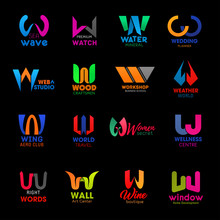 W Letter Icons Modern Business Company Design