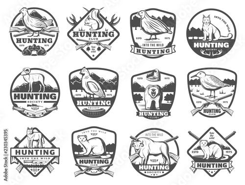 Cuadros en Lienzo Hunt club wild animals and birds vector icons