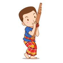 Cartoon Character Of Boy Playi...