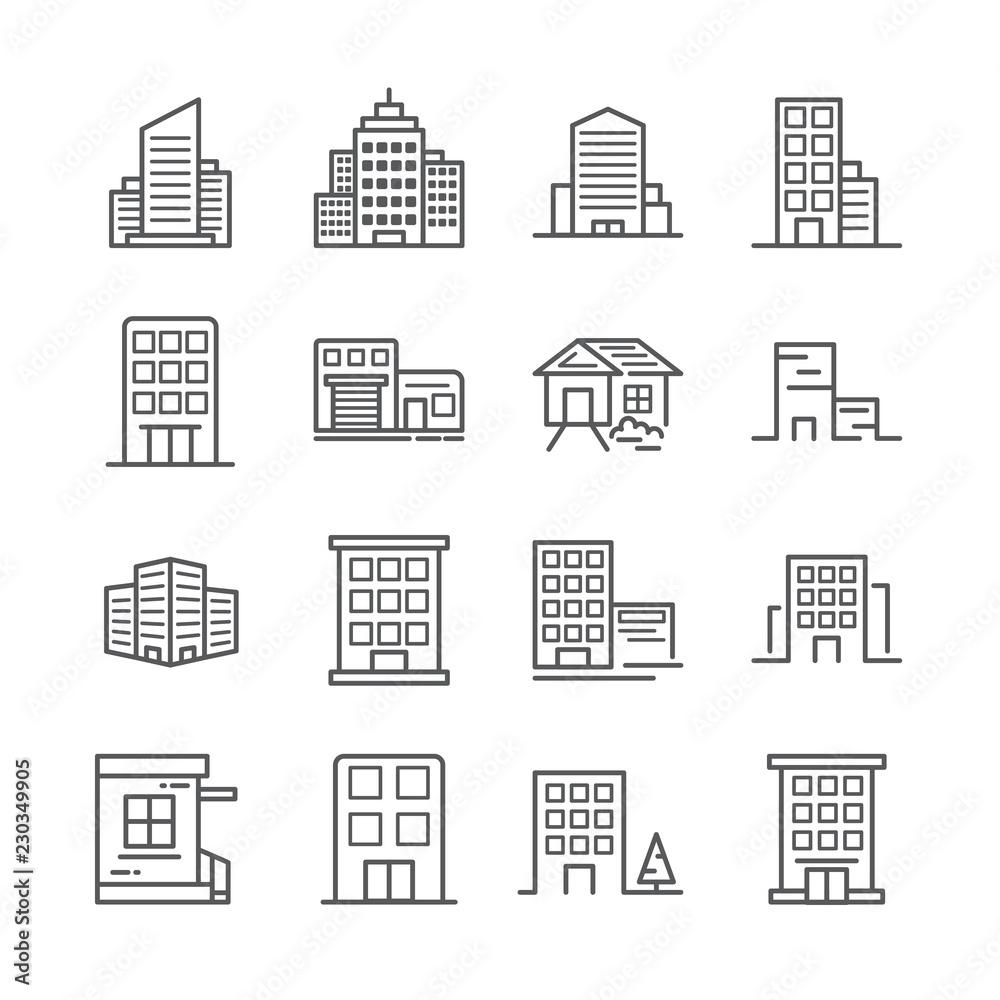 Fototapety, obrazy: building line icon 30x30 pixel. Vector illustration.