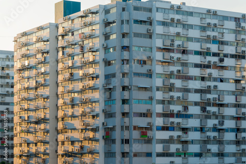 Tuinposter Industrial geb. The apartment home residential building area in the crowded capital in Bangkok, Thailand