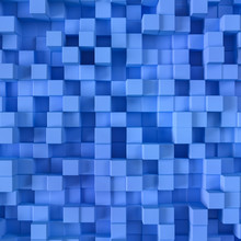 Abstract Blue Blocks Background 3D Illustration